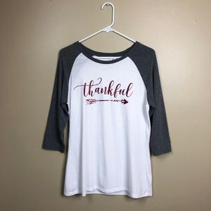 Thankful Raglan Tee 3/4 Sleeves Red Graphic X655